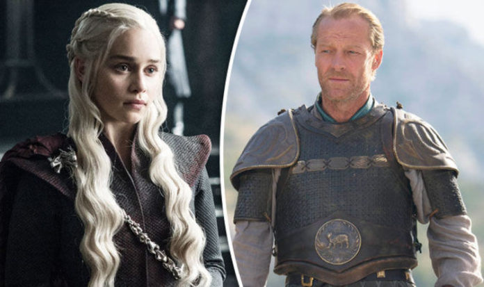 Game of Thrones, Iain Glen, Jorah Mormont, Daenerys, Emilia Clarke